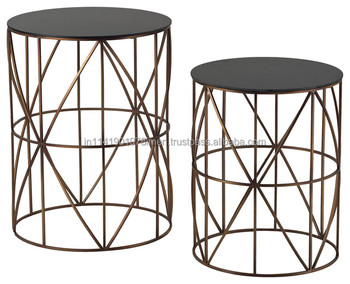 Modern Nesting Wired Glass Resin Topside Table Set Black Brass Copper  Colour Wholesale Prices Usa European Style   Buy Wooden Coffee  Tables,Marble Top ...