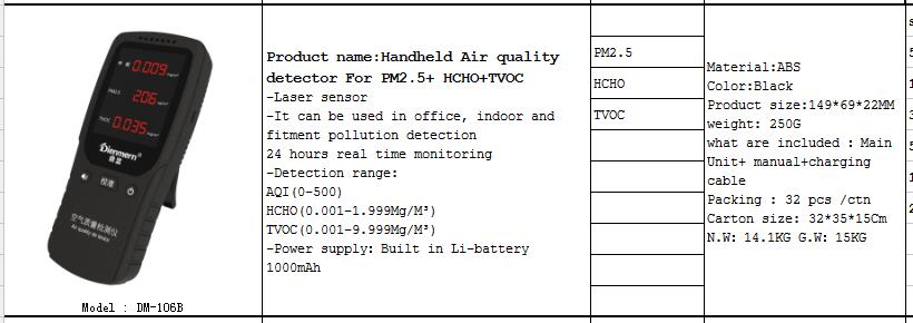Langder Cheap Price Laser Sensor Handheld Air Quality Detector For PM2.5/HCHO/TVOC