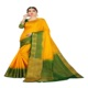 Exclusive Indian Latest Yellow + Green border Party Wear Designer Saree