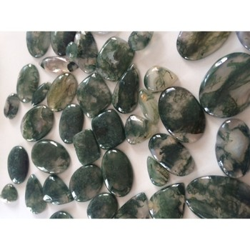 Moss agate smooth cabochon