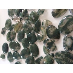 Free size Moss agate smooth cabochon