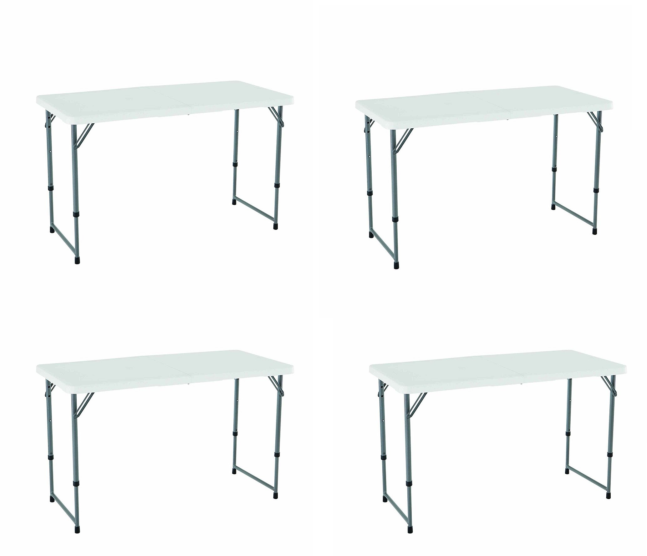Get Quotations  C2 B Height Adjustable Folding Utility Table  Inches White Granite Pujxdr