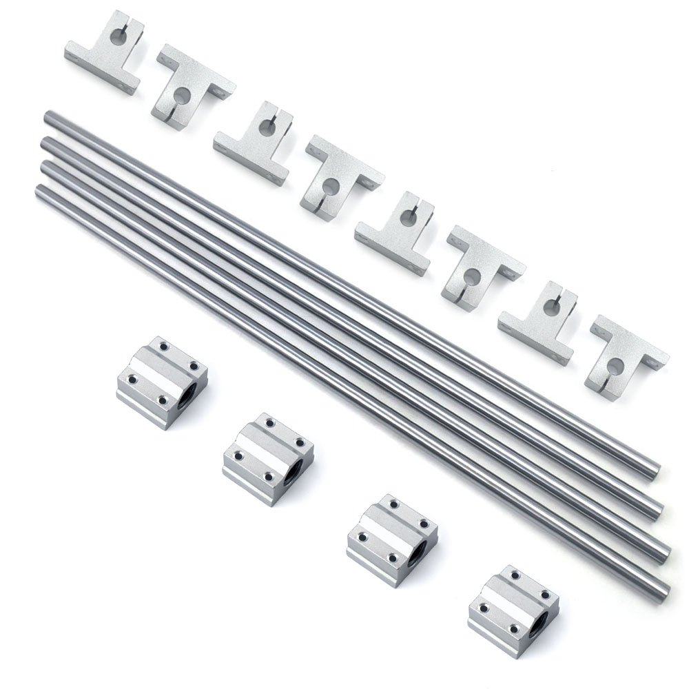 Bearing& Support,Ideaker Horizontal 8mm Dia Linear Motion Ball Bearing Slide Bushing &400mm Linear Shaft Optical Axis with Rod Rail Support Set of 16