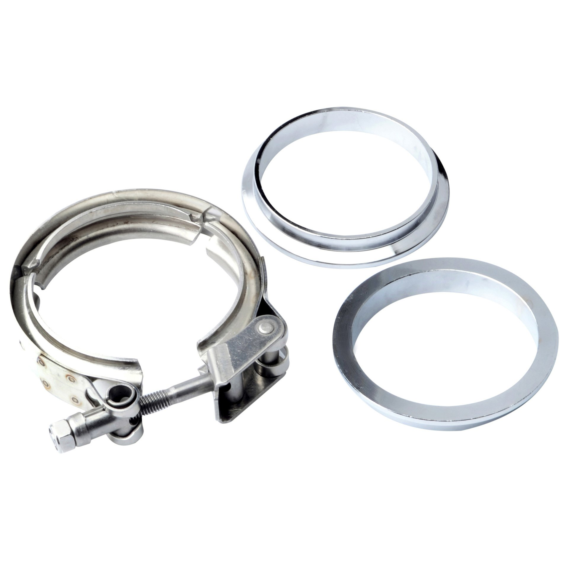 OBX Universal 3 Inch Stainless Steel V-Band Turbo Downpipe Exhaust Clamp Vband Non Adjustable 2Pcs