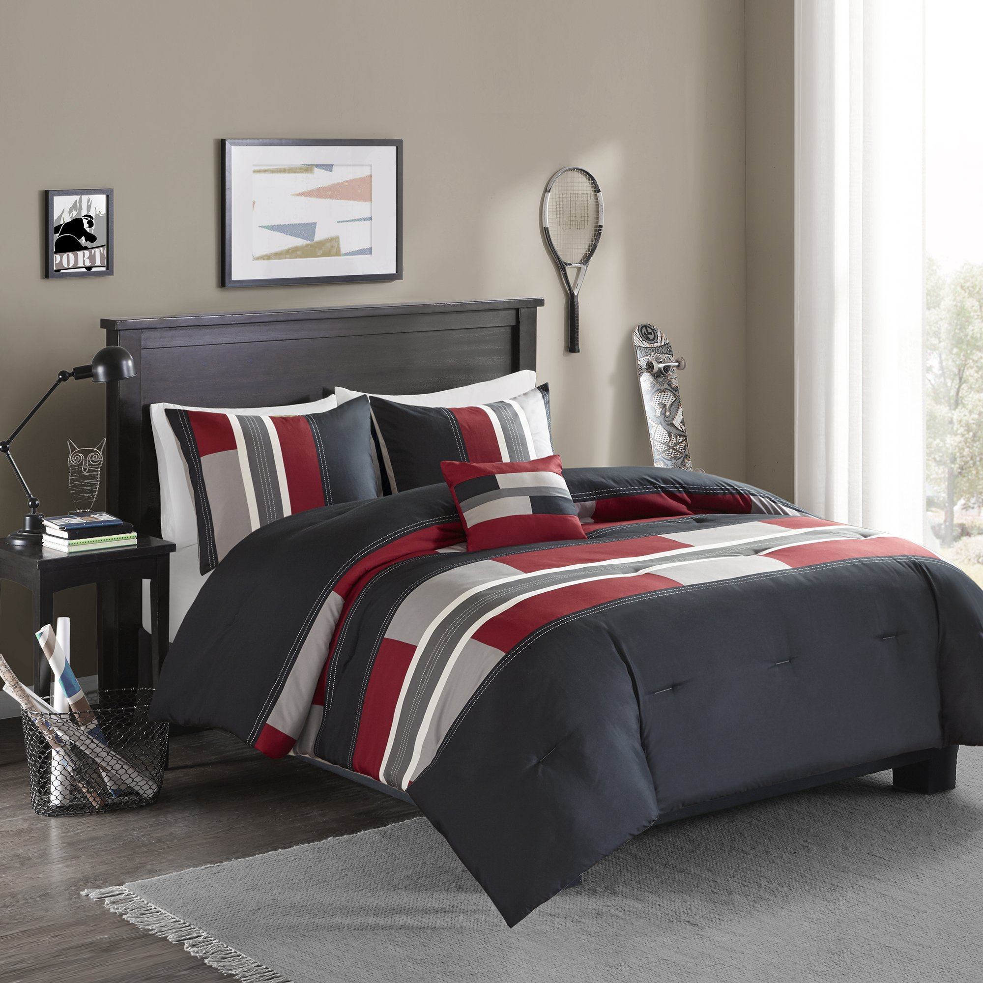 Comfort Spaces - Pierre Comforter Set - 3 Piece - Black/Red - Multi-Color pipeline Panels - Perfect For Dormitory - Boys - Twin/Twin XL size, includes 1 Comforter, 1 Sham, 1 Decorative Pillow