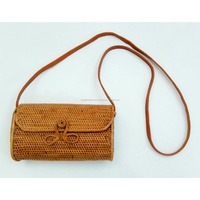 Bali Ata Wallet Bag Natural Grass Rattan Woven Ribbon Clip
