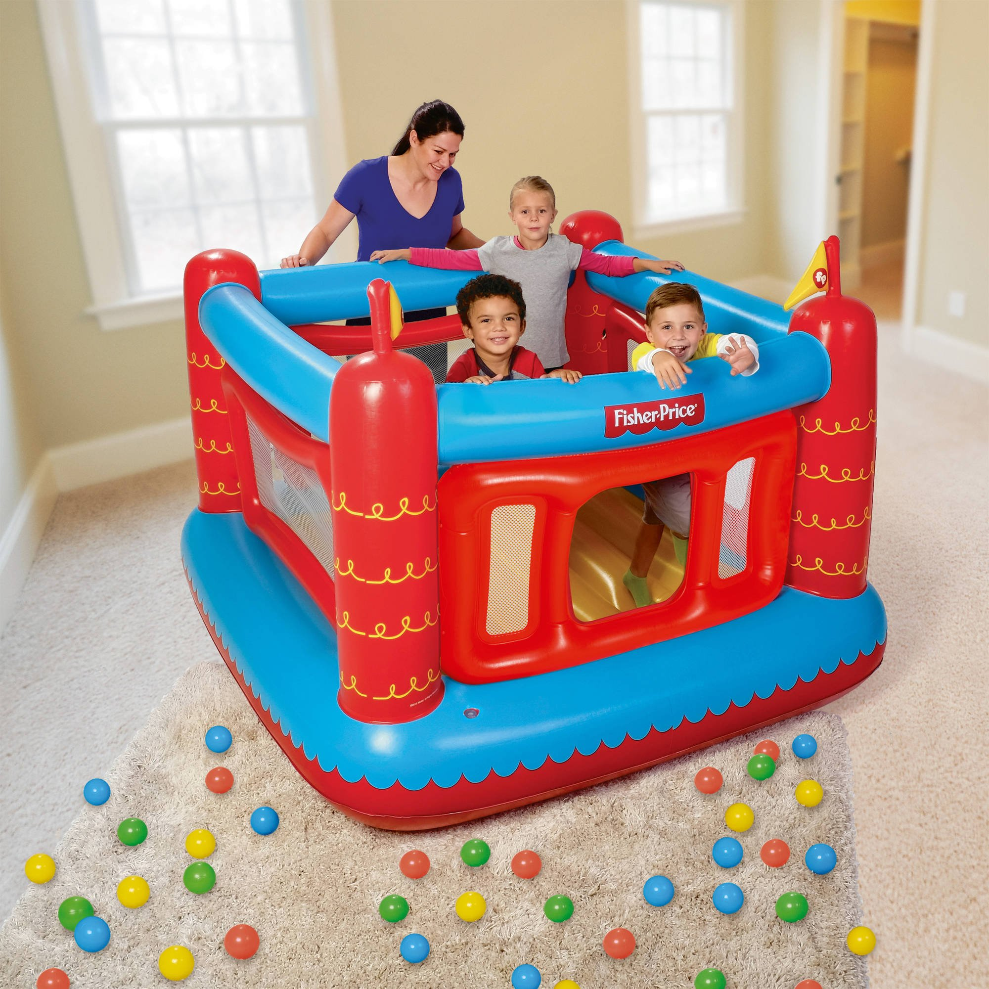 """Fisher-Price Bouncetastic Bouncer with 50 Play Balls, 69"""" x 68"""" x 53"""""""