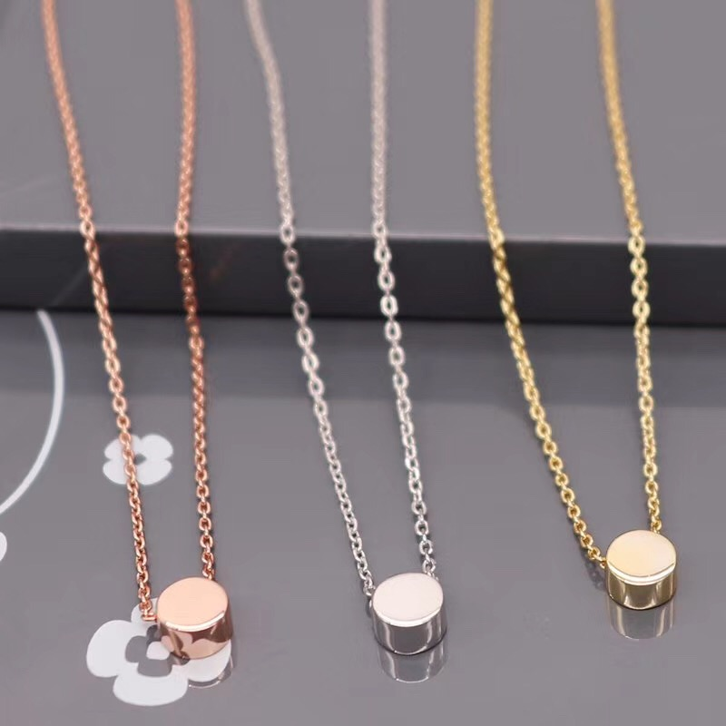 925 simple 은 Rose Gold Plated Round 원 광택 숨 막히게 necklace 금 jewelry sets women