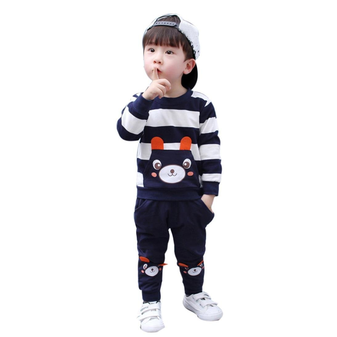 73b79b6c6 Get Quotations · ZLOLIA Baby Clothes Autumn Winter Cute Kids Girl Boy Set  Striped Bear Tops Pants Outfits (