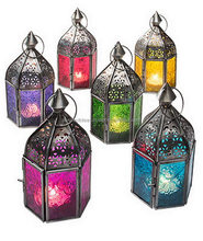 Patterned Glass Black Moroccan Lantern Multicolor, Antique Zinc, Great Fretwork Hanging / Table Metal Tea Light Candle Holder