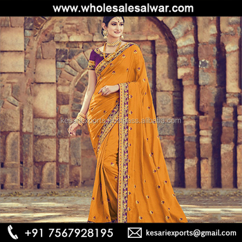 Mustard Linen Silk Wedding Wear Heavy Embroidery Work Saree Saree