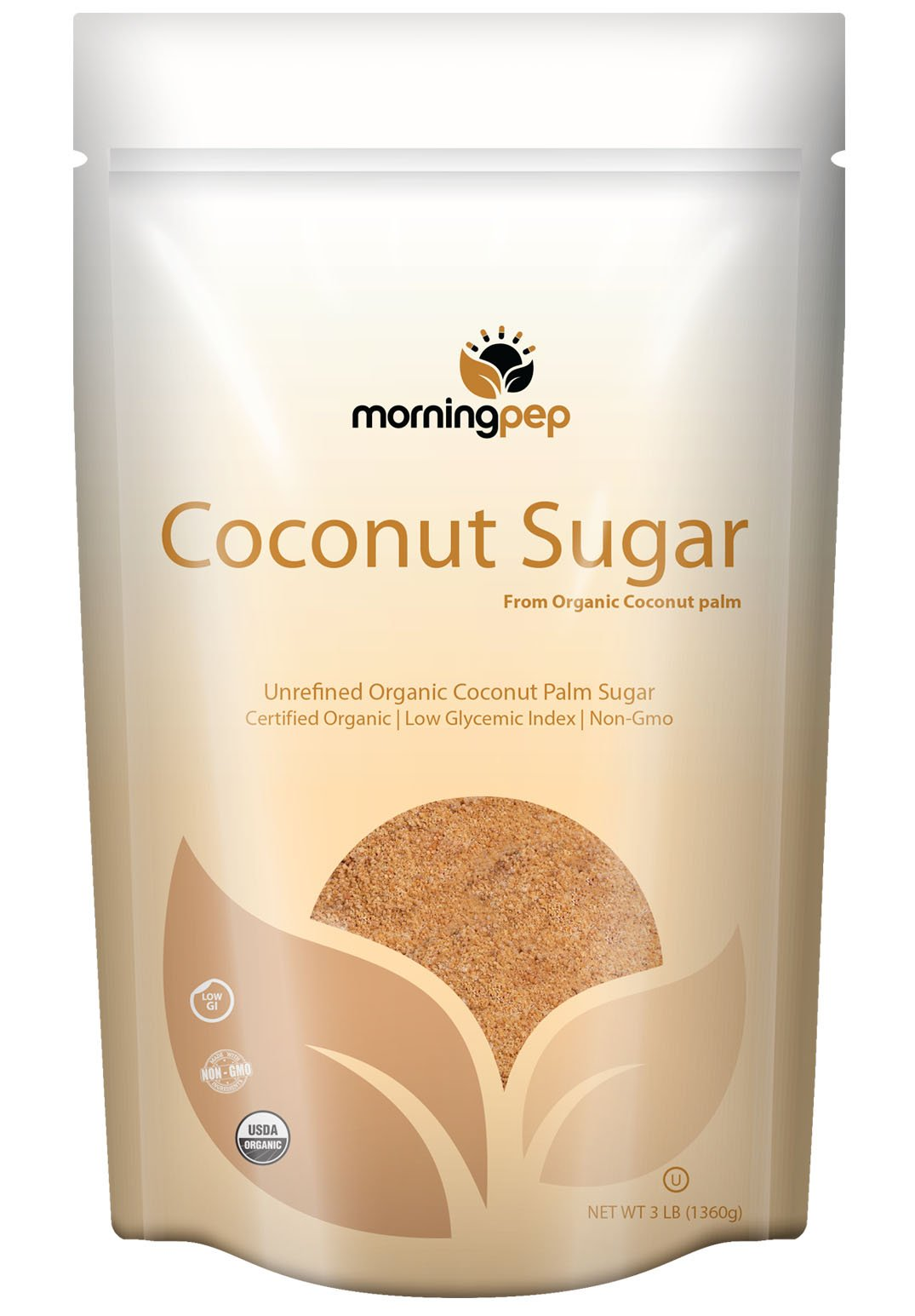 Morning Pep Coconut Palm Sugar USDA Certified Organic Gluten Free Non GMO Certified Kosher Large Bag, 6 lb (96 oz)