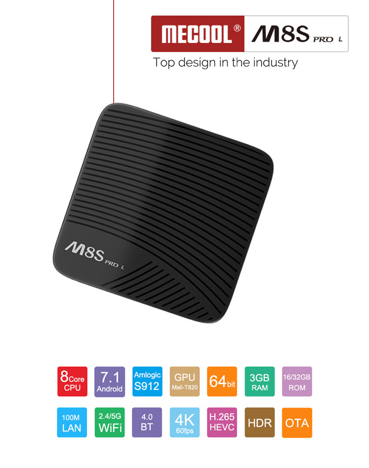 android hd TV box videos ott M8 S pro L AMLOGIC S912 3gb 16gb octa core 4k smart