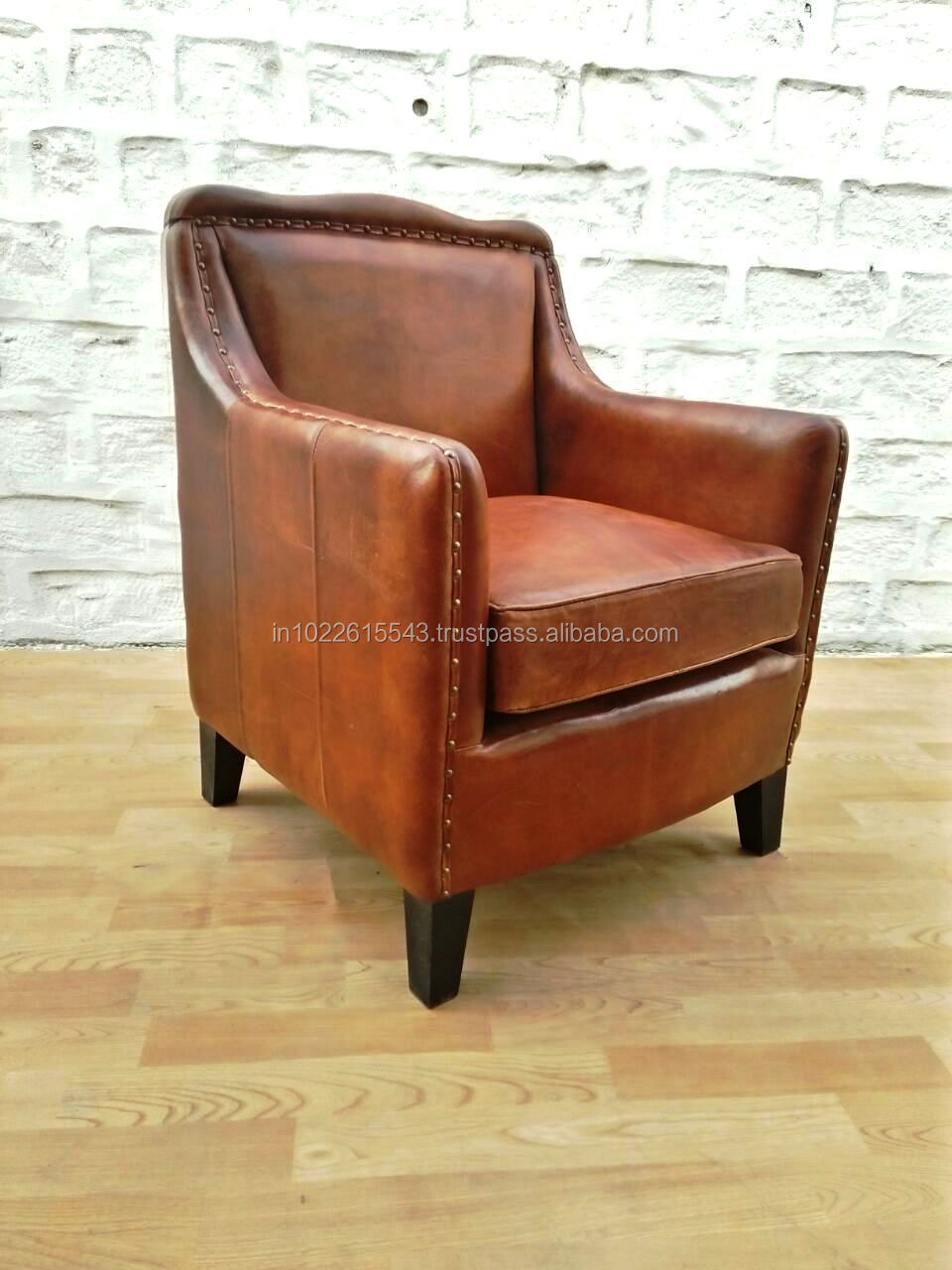 Club Leather Armchair Vintage Single Seater Sofa Chair
