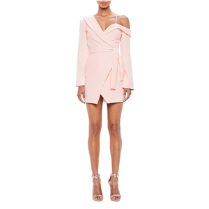 Ladies Long Sleeve Sexy Nude One-Shoulder Tuxedo Mini Pink Dress Women Dresses