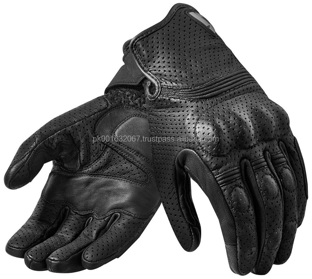 Perforated goatskin drum dyed-Summer Motorcycle Gloves-Men's Genuine Leather Riding Gloves