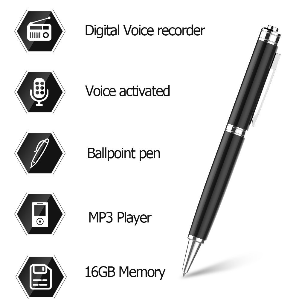 Digital Voice Recorder Pen by Aiworth,16GB Voice Activated Recorder Ballpoint Pen, Dictaphone,MP3 Player 3 in 1,One Button Recording and Save Perfect For Lectures,Meetings,Interview,Speech