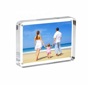 Magnetic Acrylic Miniature Block Picture Frame Double Sided Frameless Desktop Photograph Display