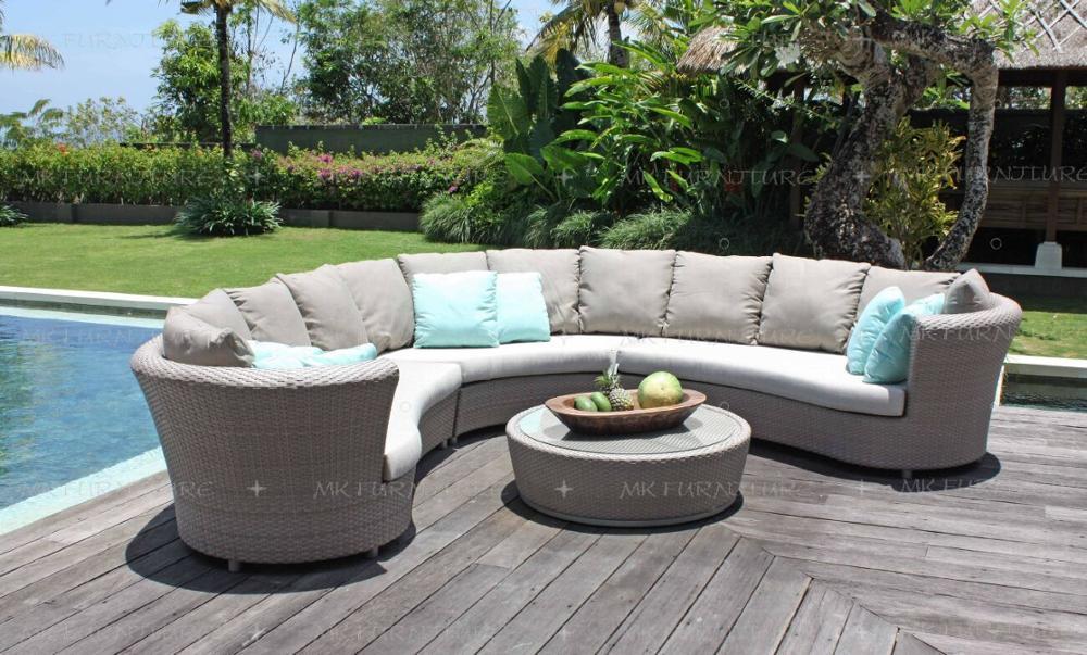 Garden Handmade 100% Weaving Pe Rattan Wicker Outdoor Large Curved \