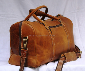 Full Grain Genuine Crazy Horse Leather Duffel Travel Overnight Weekend Bag Sports Gym For Men