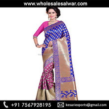 Blue Banarasi Silk Regular Wear Zari Work Saree - Silk Sarees Banarasi Silk Zari Work