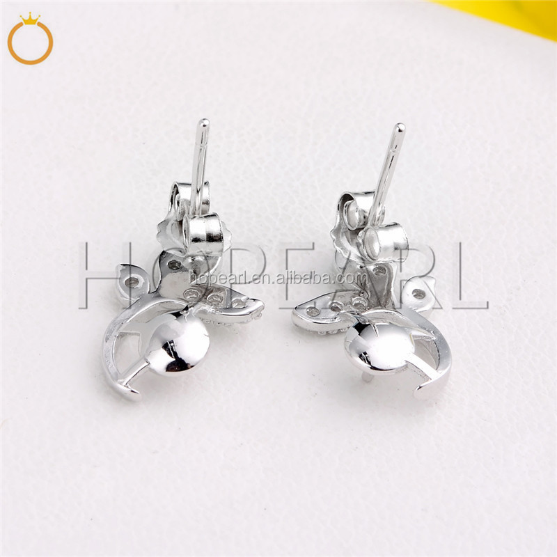 SSE101 Sterling 925 Silver Zircon Pearl Mounts Charms Leaves Stud Earrings Women Jewelry Bijoux Elegant Gift