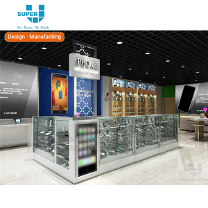 3D Drawing Retail Store Mobile Phone Shop Display Counter Mobile Shop Cash Counter Furniture Design