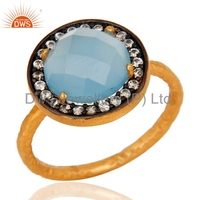 White Zircon Blue Chalcedony Gemstone Ring Gold Plated Indian Designer Rings Supplier