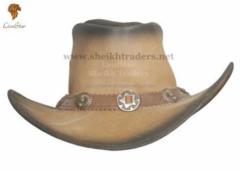 Lionstar Stylish Retro Unisex Real Leather Cowboy Hats - Buy Leather ... 9bef26793bd