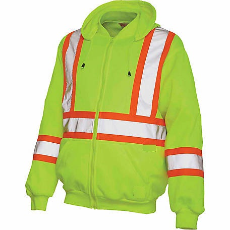 Hi Vis Men Waterproof Hoodie Zip Up Sweatshirt Vis Visibility Work Coat Jacket C