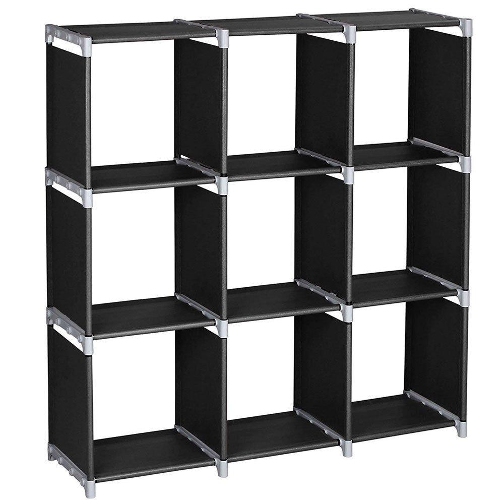 Azadx Storage Cabinets, 3 Tier, Storage Cube Closet Organizer Shelf, 6 Cube/ 9 Cube Cabinet Bookcase, Durable,Multifunctional,Black (9 Cubes)