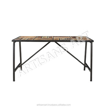 Vintage Industrial Folding Table, Indian Antique Reclaimed Wood Furniture, Knock down Furniture