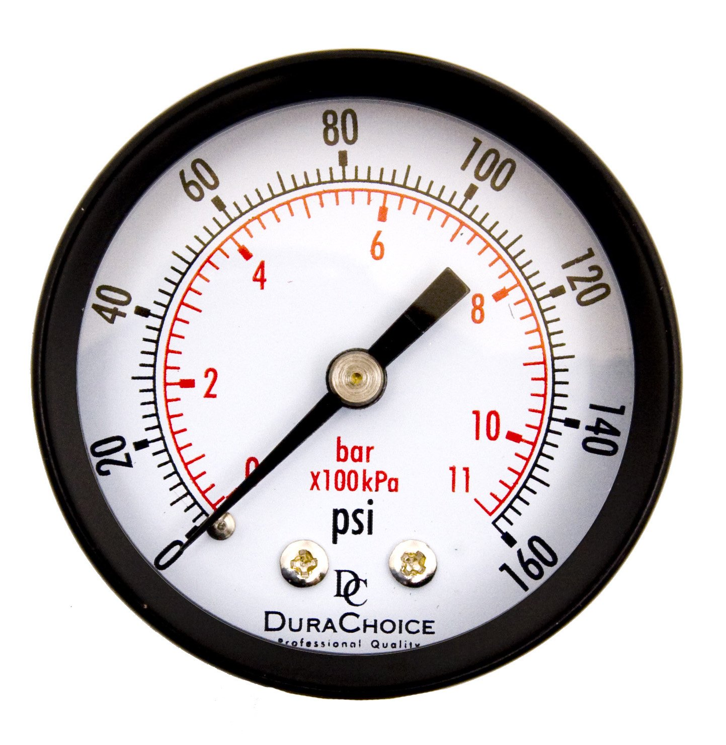 "DuraChoice 2"" Dial Utility Pressure Gauge for Air Compressor Water Oil Gas, 1/4"" NPT Center Back Mount, Black Steel Case, 0-160 PSI"