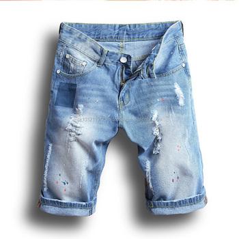 Algodón Al Denim 100 Pantalones Mayor Por Lavado Bermuda zqFw5Fan6