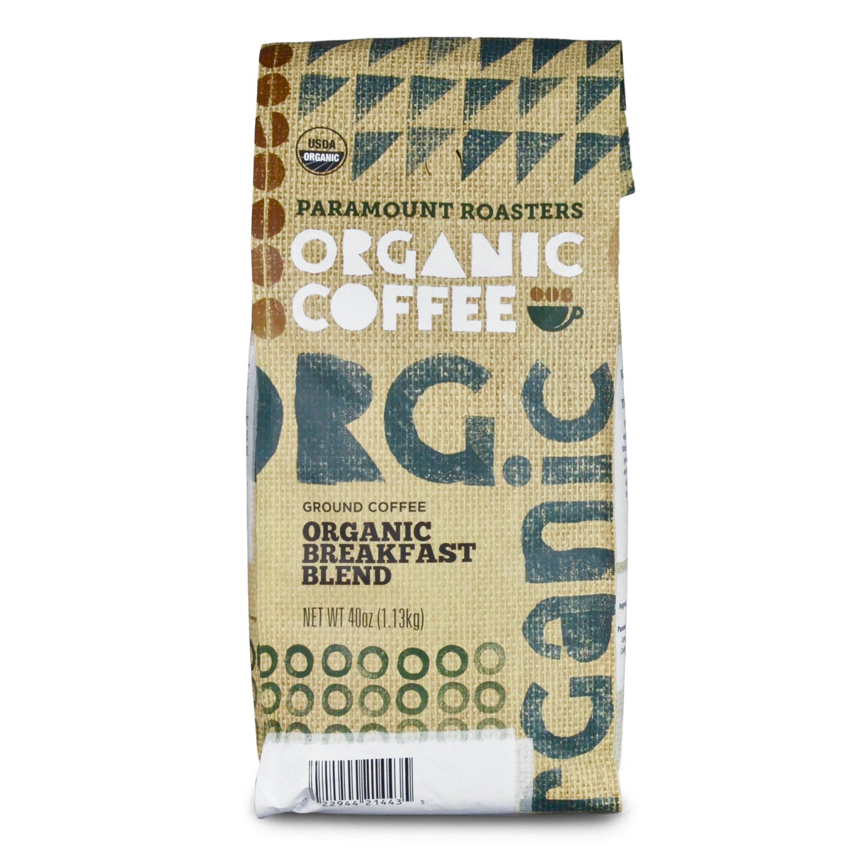 Certified Organic Coffee, Breakfast Blend, Medium Roast from Paramount Roasters, 40 oz, Ground, USDA Certified, Kosher Certified
