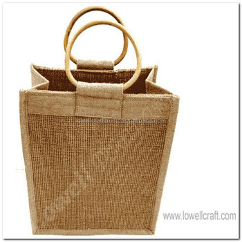 Six Bottle Jute Wine Bag With Wooden Handles And Dividers