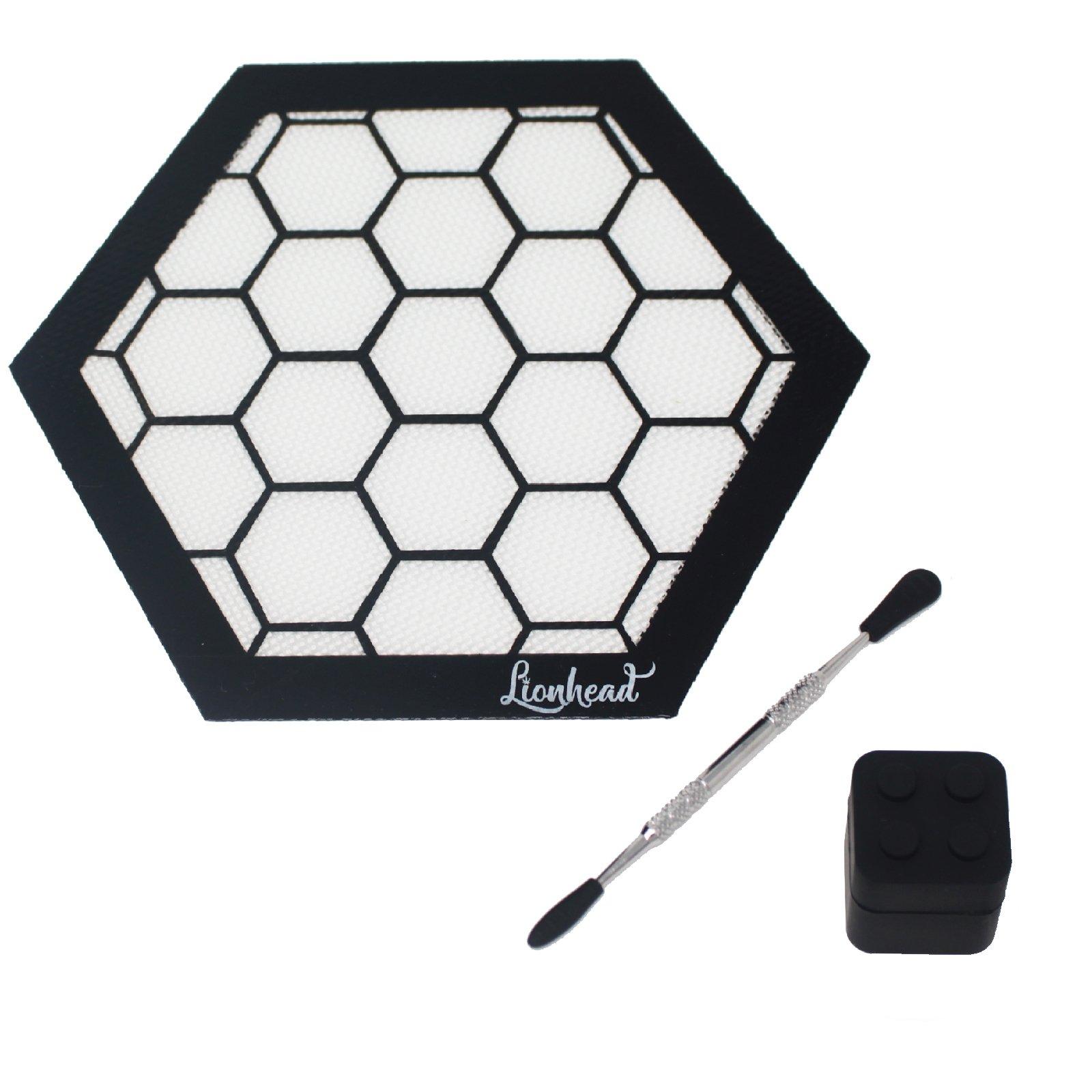 "Silicone Mat Bundle - 8"" Hexagon Mat + 5"" Carving Tool + 7ml Non-Stick Container + Sponge - Lionhead (Honeycomb)"