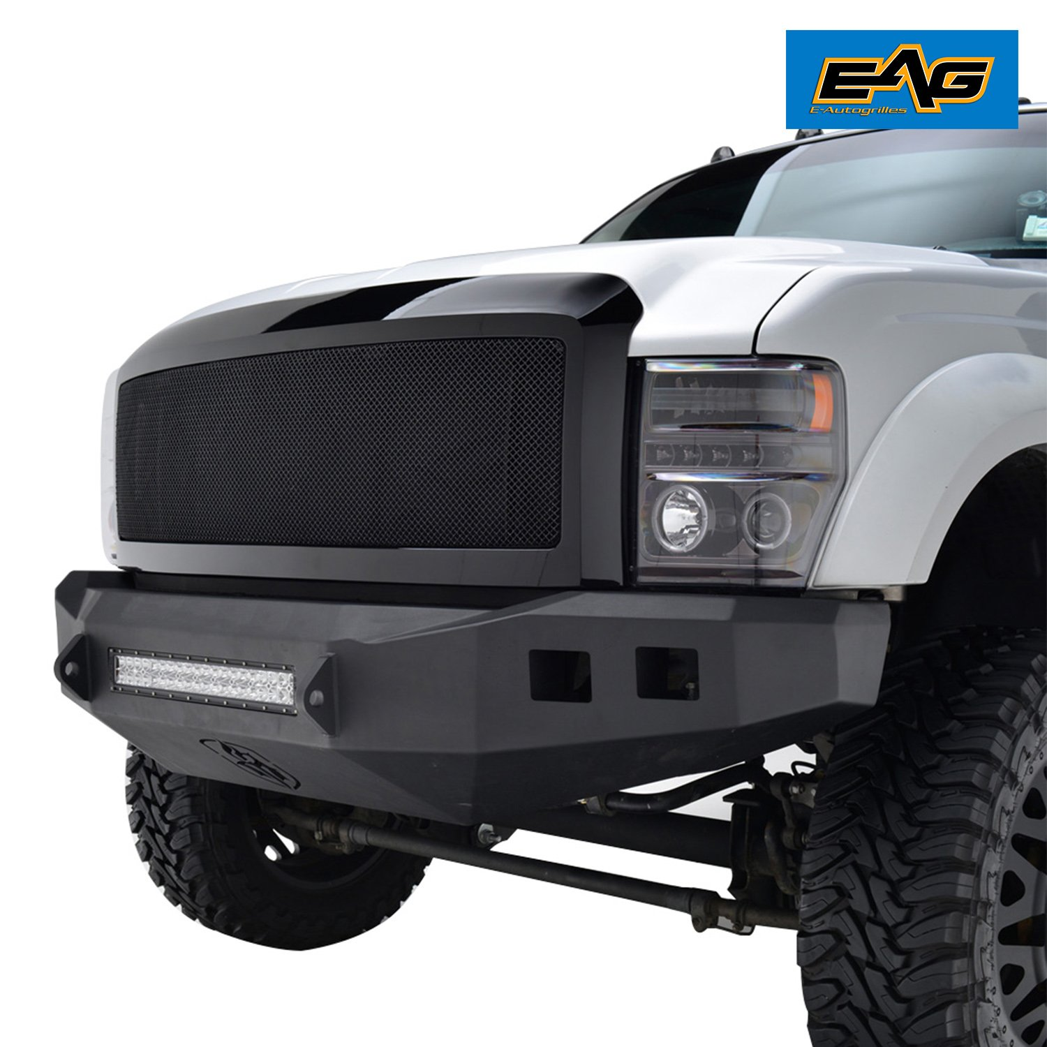 E-Autogrilles Black Stainless Steel Wire Mesh Grille Grill with ABS Shell for 08-10 Ford Super Duty F-250/F-350(44-0803)