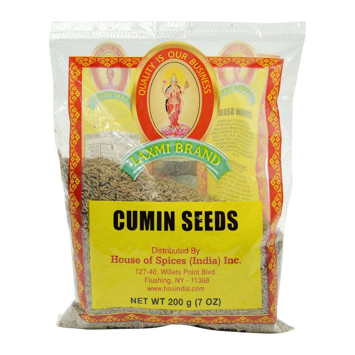 Laxmi All-Natural Dried Cumin Seeds, Traditional Indian Cooking Spices - 200g