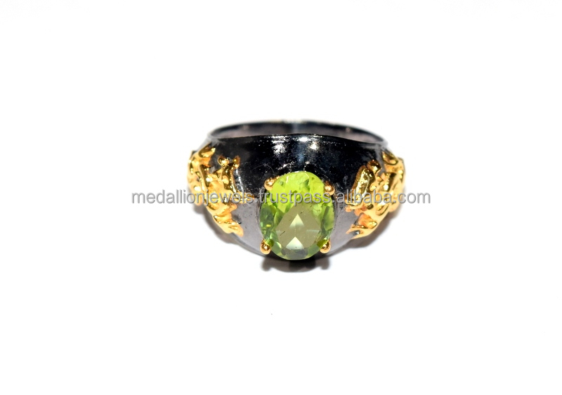 925 Solid Sterling Silver Gemstone Peridot Dragon Black & Gold Facet Ring