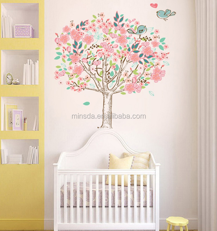 Cherry Blossom Pohon Bayi Gadis Nursery Bedroom Stiker Dinding