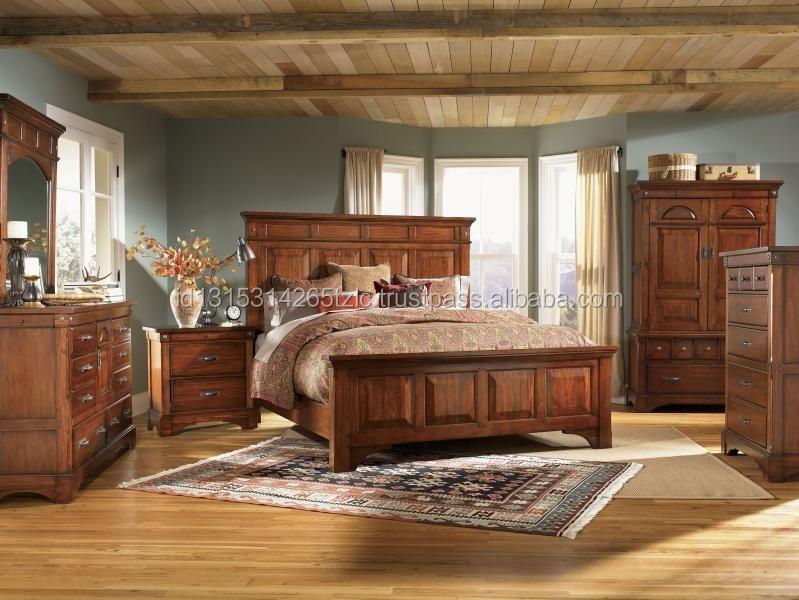 Solid Mahogany Wood Bedroom Set In