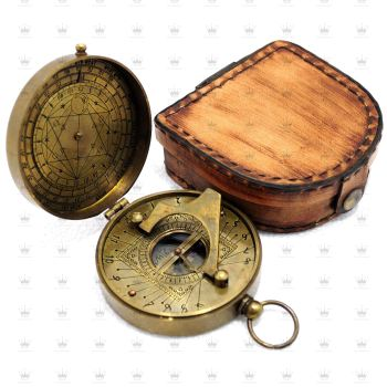 New Nautical style Antique Sundial Brass compass Collectible Sundial Vintage Gift Item Compass With Leather Box
