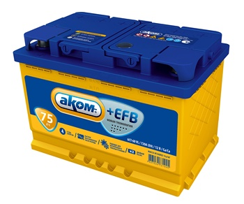 Car battery efb 75 Ah AKOM for Car engine starting