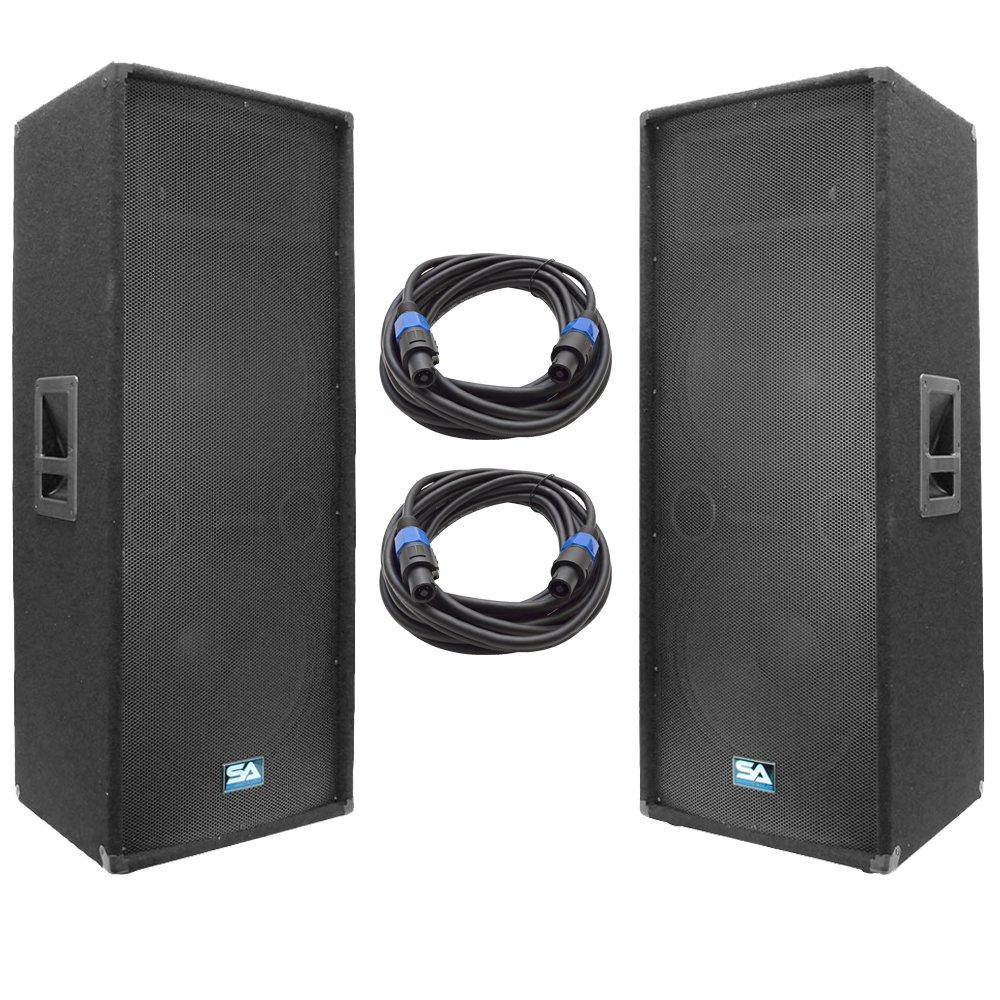 buy seismic audio dual 15 inch pa dj speaker 500 watts pro audio band bar wedding church. Black Bedroom Furniture Sets. Home Design Ideas