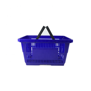 Wholesale Plastic Double Handle Collapsible Picnic Shopping Basket for Supermarket