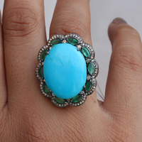 Emerald and Turquoise Cocktail Ring Pave Diamond Silver Jewelry
