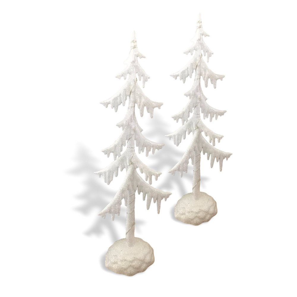 Frosted White Glitter Trees - Set of 2 LED Table Top Christmas Tree - Acrylic Trees with White Glitter - Holiday Decorations