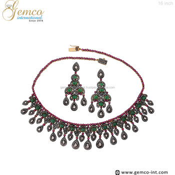 Designs Gold & Silver Diamond Ruby & Emerald Necklace & Earrings Set