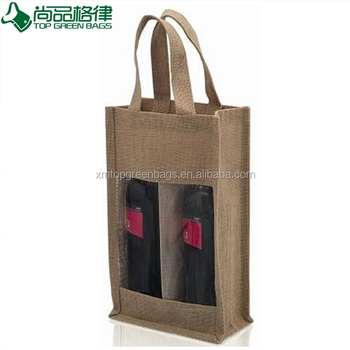 2 Bottles Burlap Wine Bags Jute Gift Bag With Transpa Window Bottle